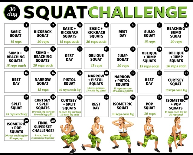 30-day-squat-challenge for a nice butt
